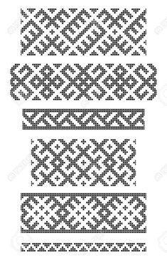 Reihe von nahtlosen geometrischen Grenzen, Stickereien Kreuz