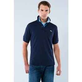lacoste men polo shirt navy blue