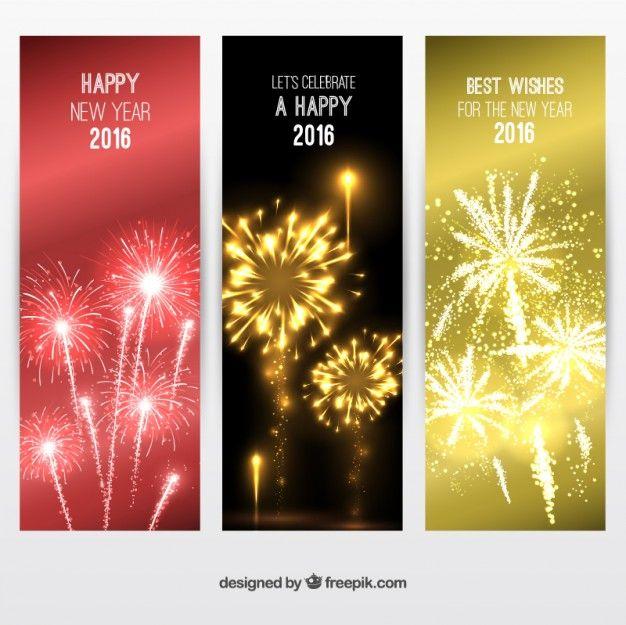 新しい年のバナーパックをElegants 無料ベクター