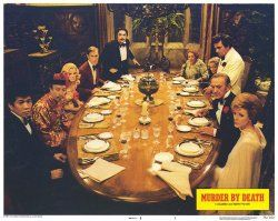 David Niven, James Cromwell, Peter Falk, Peter Sellers, Maggie Smith, Elsa Lanchester, Eileen Brennan, James Coco, Richard Narita, and Estelle Winwood in Murder by Death (1976)