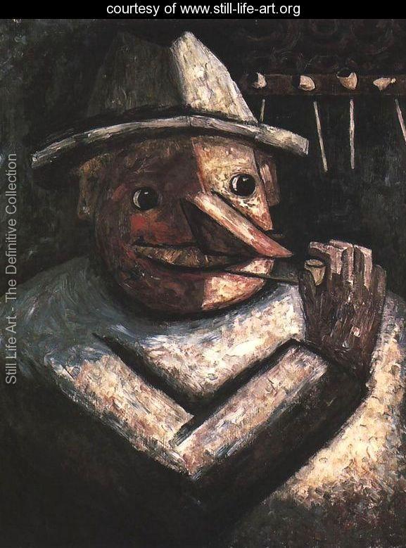 Portrait of a Man with Pipes - Tadeusz Makowski - www.still-life-art.org