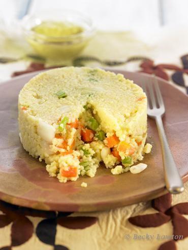 Pastel de mijo con verduras y mayonesa verde esmaca.cat macrobiotic