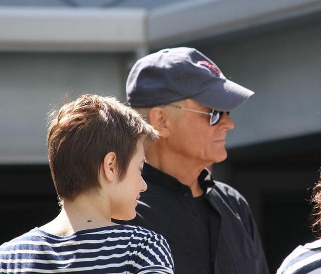 Don Matteo al Campus Bio-Medico: l'attrice Laura Glavan e Terence Hill.