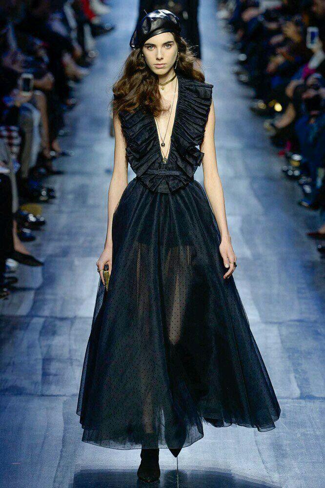 black mesh long dress