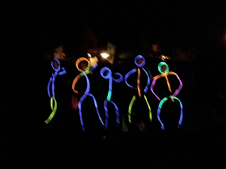 Glowing stick figures - creative Halloween costume. Black ...