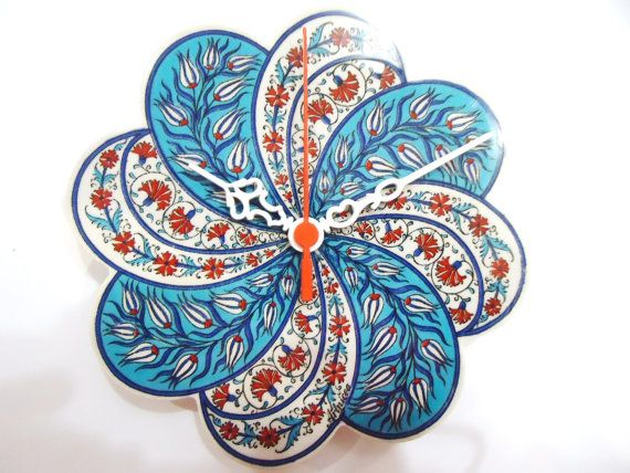 Wall Clock Turkish Ceramic Tile with by WallClocksbyimagine, $32.00