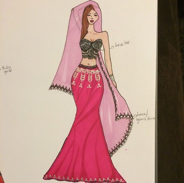 Lace lengha, featuring lace bandeau blouse and magenta pink lengha skirt with silver zari embroidery.