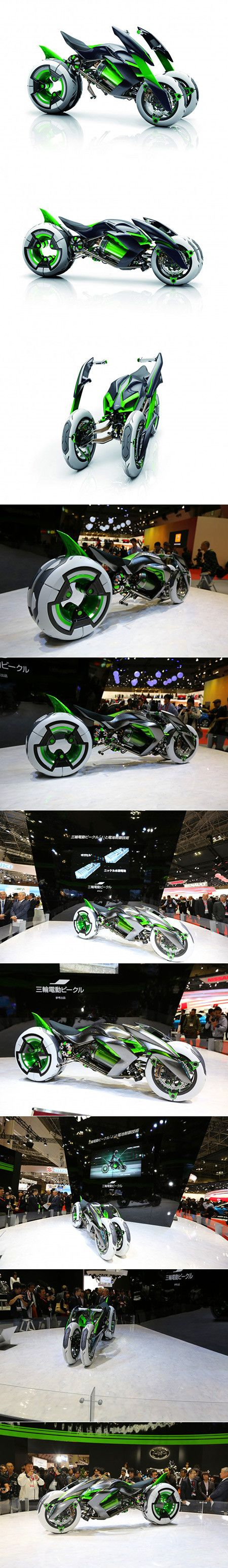 Kawasaki J is a Real-Life TRON Light Cycle, Features Shape Shifting 3-Wheel Design - #motorcycles