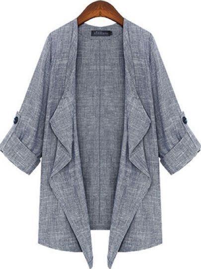 Grey Half Sleeve Casual Loose Outerwear