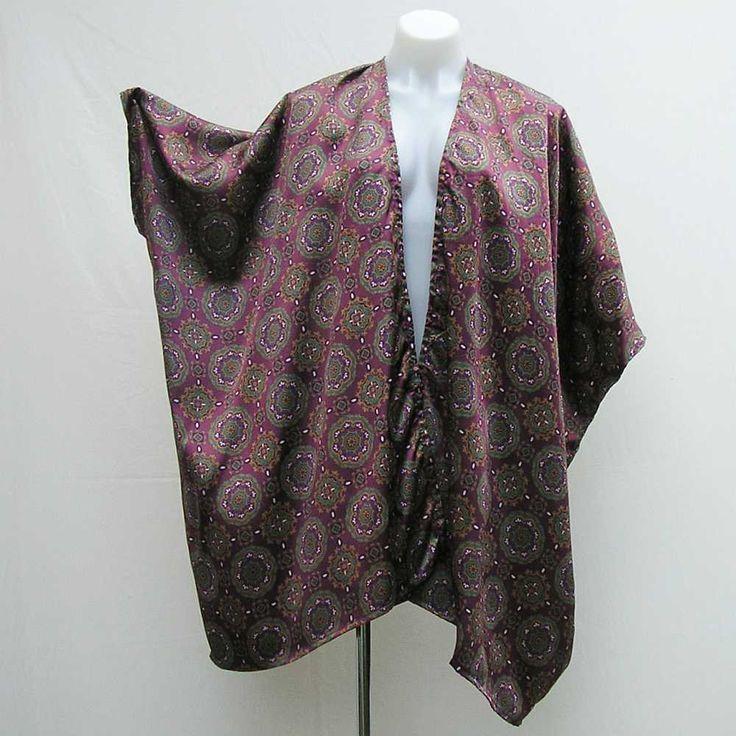 Plus size Kimono, boho kimono, bohemian kimono, purple green gold satin kimono, 1x 2x 3x 4x 5x 6x, OOAK kimono jacket, one of a kind kimono by Rethreading on Etsy