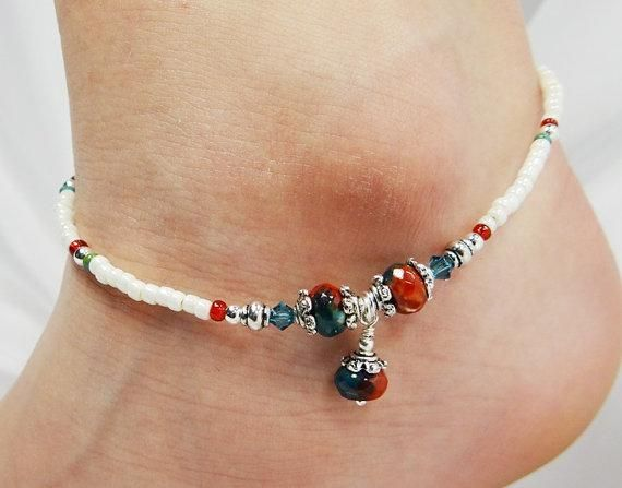 Beaded anklet. Craft ideas from LC.Pandahall.com    #pandahall