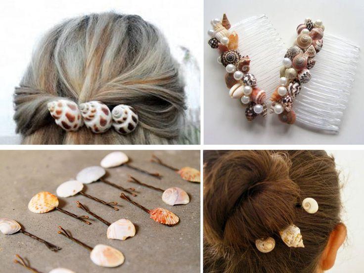 abalorios para el pelo con conchas
