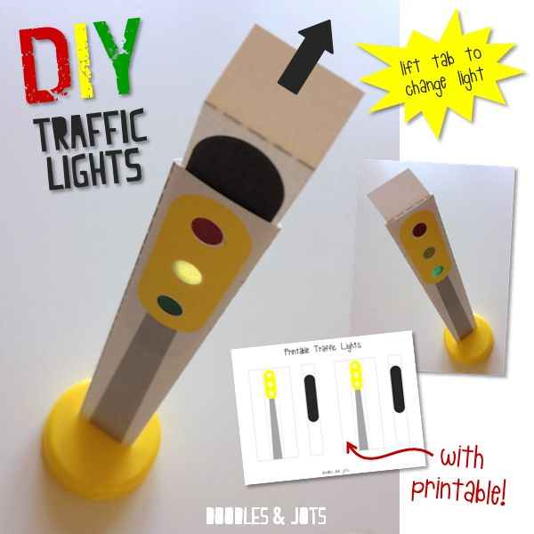 traffic light craft printable for playing with toy cars
