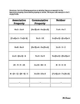 Associative and Commutative Property Sort