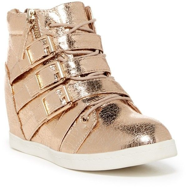 Miss L Biggie High-Top Platform Sneaker ($40) ❤ liked on Polyvore featuring shoes, sneakers, rose gold, wedge shoes, high top zipper sneakers, platform wedge shoes, platform shoes and wedge sneakers