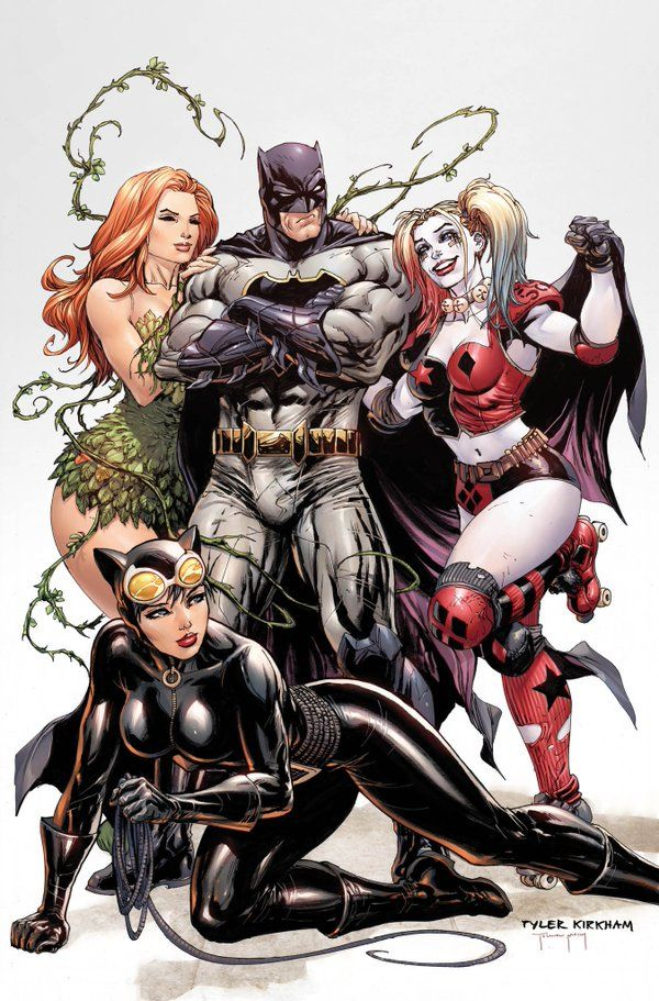 "artverso: "" Tyler Kirkham - Batman, Poison Ivy, Catwoman and Harleyquinn "" Batman and The Gotham Girls"