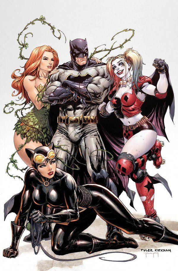 Batman, Hera Venenosa, Mulher Gato e Arlequina