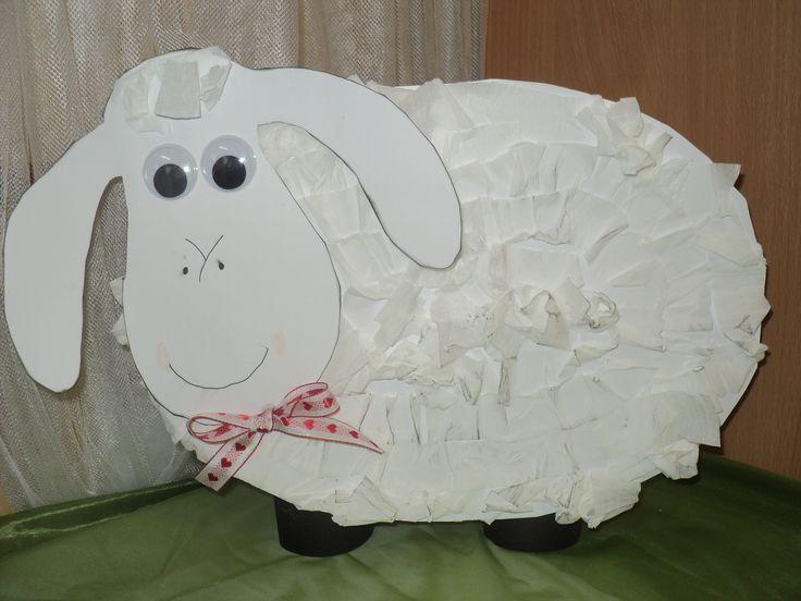 Ovečka - čtvrtka, krepový papír
