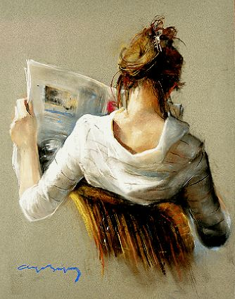 Lezen in de kunst: Weiss . love the simple background, and how lovely the subject is.