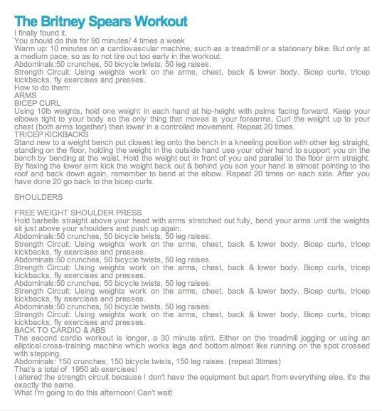 Britney Spears workout routine from back in her prime - starting this today! : )