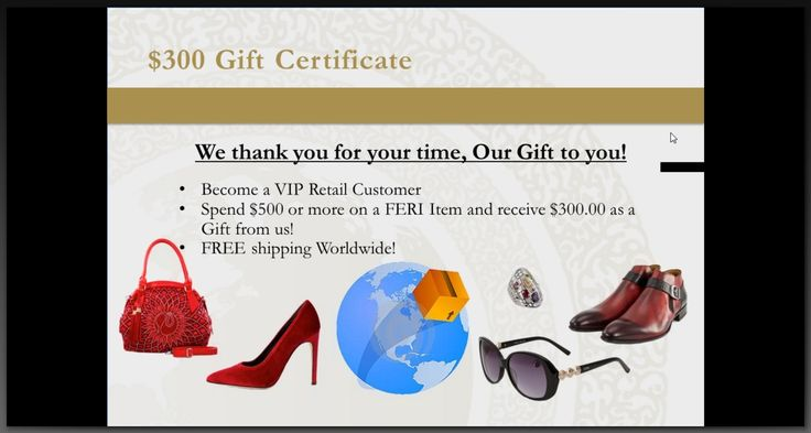 Watch the Tour and receive a $300 Gift Certificate!  You may order up to 2 Feri Items.   https://www.globalwealthtrade.com/drewljohnson/opportunity.html?cntylng=eng_can