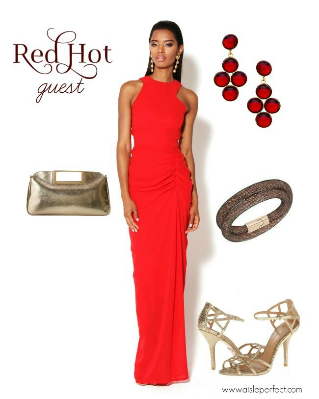 red hot wedding guest outfit red dress for