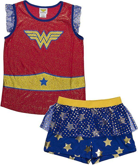 c622d7bbc905 Amazon.com: DC Comics Girls' Big Wonder Woman Logo 2-Piece Pajama Short  Set, BLURED, 7/8: Clothing