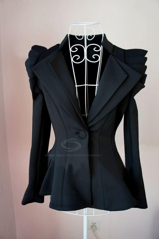 Blazers For Men Pinterest: Swallow Tail Unique Design Shrug Black Blazer For Women