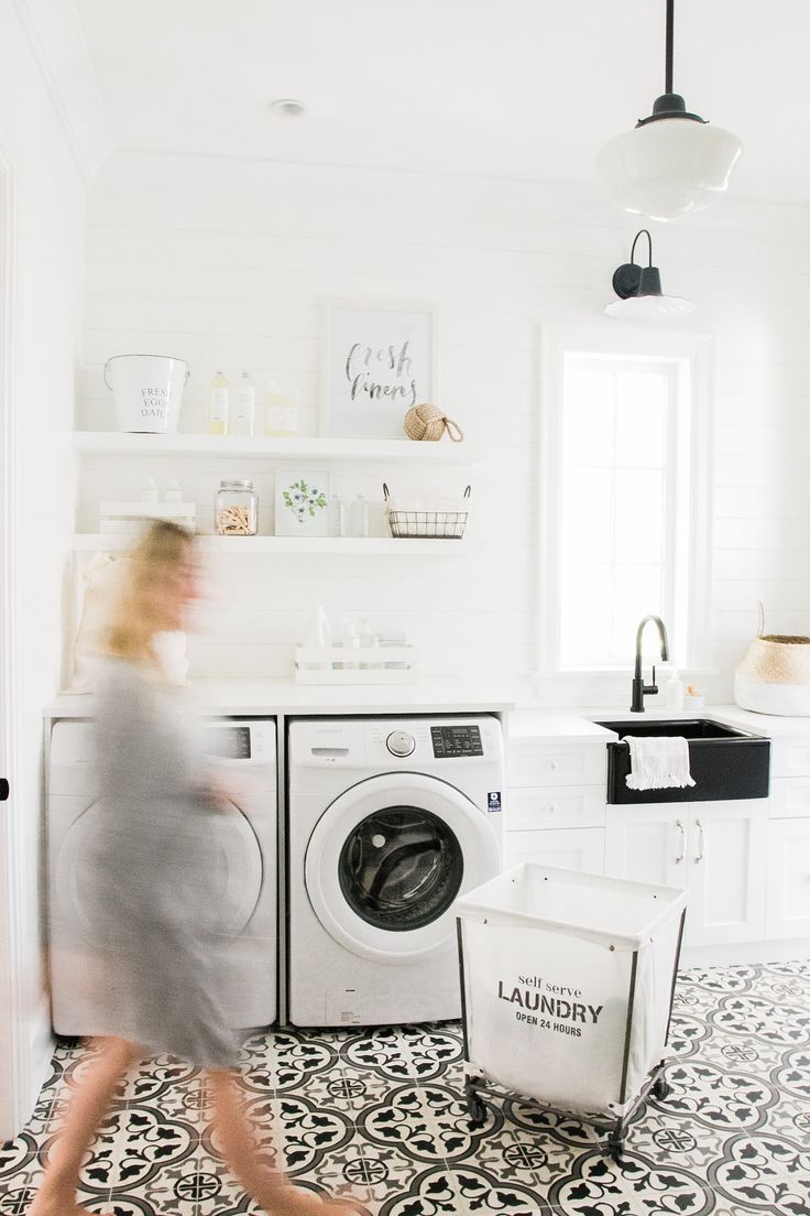 Laundry Room Inspiration, can never go wrong with B&W!