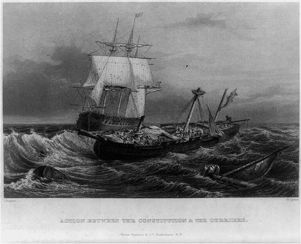 """""""Action between the Constitution and the Guerriere,"""" engraving by John Rogers and John Reuben, circa 1859"""