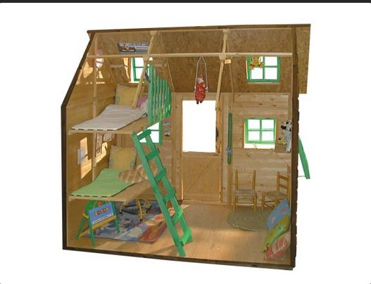 Interior casita de madera infantil super posada amplio espacio de juego y doble litera - Casa madera infantil ...