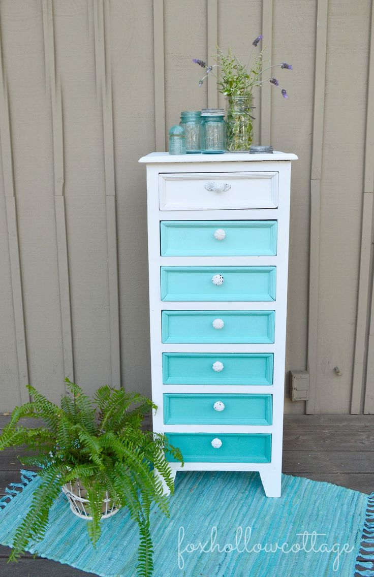 diy Project.  Painted lingerie dresser in aqua hues....LOve