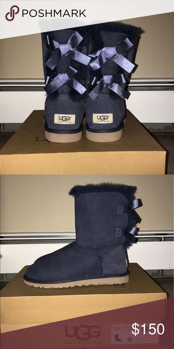 Navy Blue Ugg Boots with Bows New! Box included UGG Shoes Winter & Rain Boots
