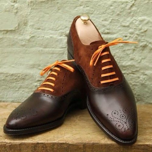 Handmade men dres leather brogue two tone shoes,Men Brown and brown formal shoes - Dress/Formal