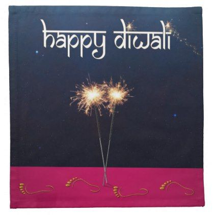 Sparkling Happy Diwali - Cloth Napkin - light gifts template style unique special diy