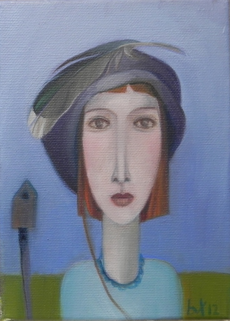 portrait with bird house