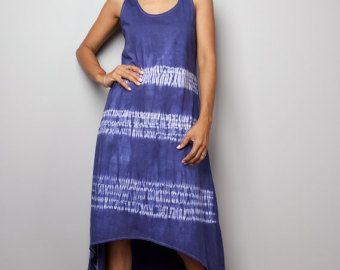 Vestido de verano - azul y blanco vestido - mano teñido vestido: Ate tinte colección (04010)