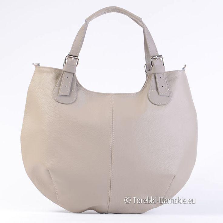 Jasnoszara skórzana torebka damska - duża, funkcjonalna, efektowna. Długość uchwytów można regulować, pasek do przewieszenia w komplecie, wewnątrz przegroda.