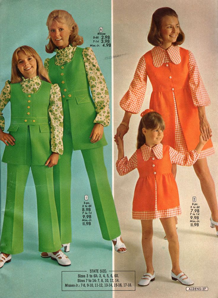 vintage dress outfits 1972 aldens catalog mother and daughter matching outfits 8211