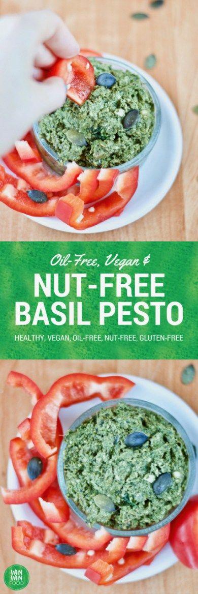 Vegan Oil-Free & Nut-Free Basil Pesto | WIN-WINFOOD.com #healthy #vegan #glutenfree #raw #paleo