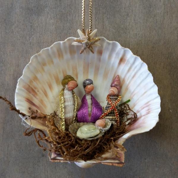 This Seashell 3 Wisemen Manger Scene Christmas NativityOrnament is sure to be a favorite. This handmade Nativity Manger Scene Ornament was made here at Sea T
