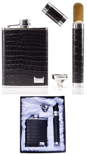 Leather Wrapped Flask and Cigar Tube Set . $56.00. The 6 oz. stainless steel flask and cigar tube in this handsome flask and cigar tube gift set is wrapped with genuine leather. It includes a funnel and satin lined gift box. Your friends and brothers have been behind you all the way and stand right with you as you say your vows to your new wife. Show them how much you appreciate their love and support with a gift of this incredible black croco leather wrapped flask and...