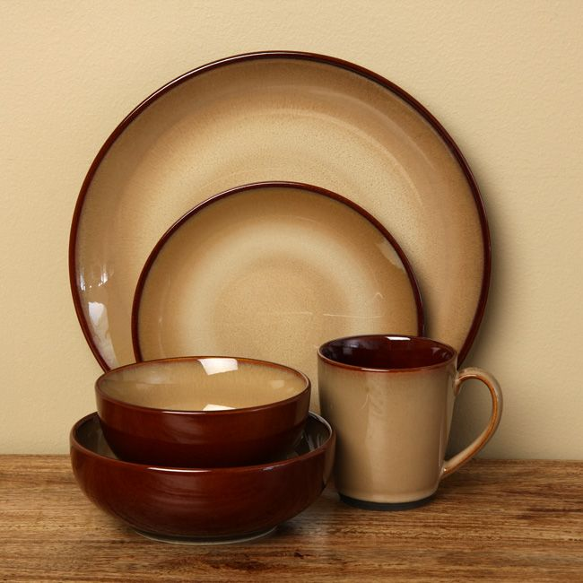 This Nova Brown 40-piece stoneware dinnerware set has a rustic look and casual style that makes it ideal for everyday use or informal events. The set provides service for eight, is microwave and dishwasher-safe, and comes in a neutral brown color.