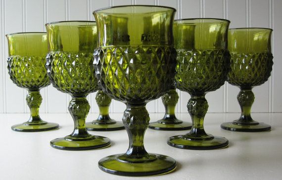 Green Glassware Vintage Green Glass Goblets by TrellisWeddingware, $32.00