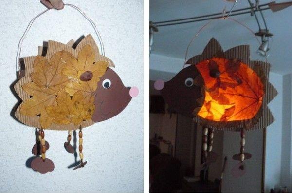 Sur le thème de l'automne : activité manuelle pour enfant avec cette lanterne hérisson en feuilles mortes.