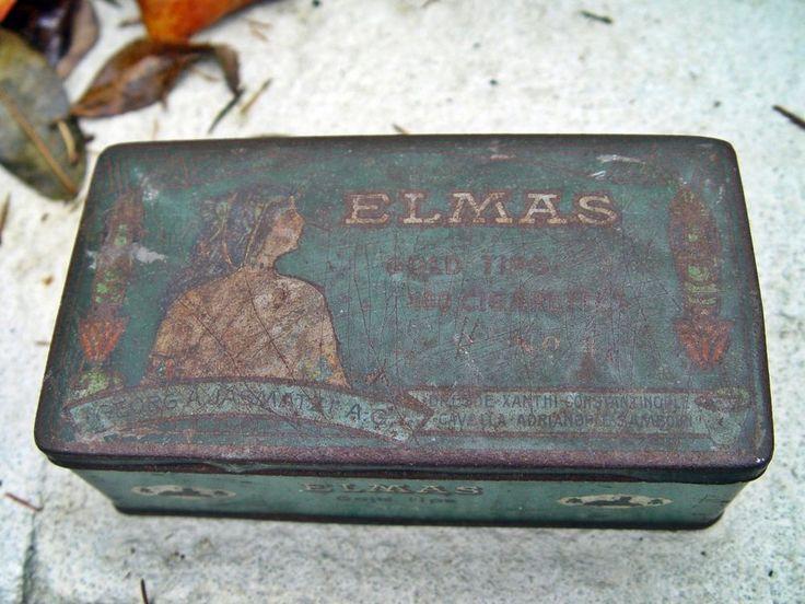alte Zigarettendose Elmas Gold Cigarettes Jasmatzi Zigarettenschachtel Blechdose