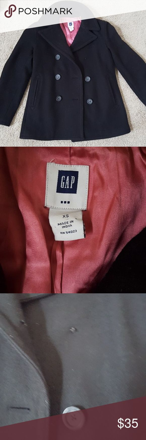 GAP Jacket Was given to me as a gift when I was younger. The dry cleaners lost a button on it. Gently used and very warm. I have out grown that jacket, other wish I'd keep it. GAP Jackets & Coats Trench Coats