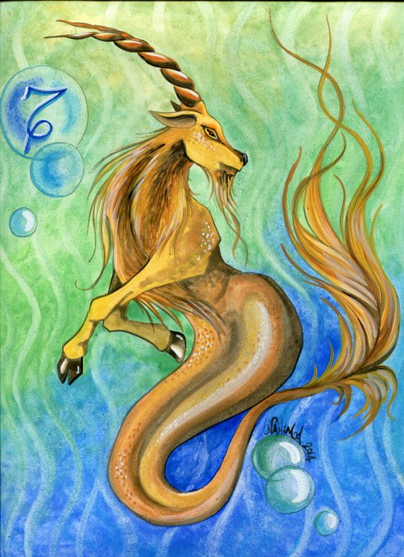 Watercolor - Star Sign - Capricorn - Print from Original Painting - Zodiac Series