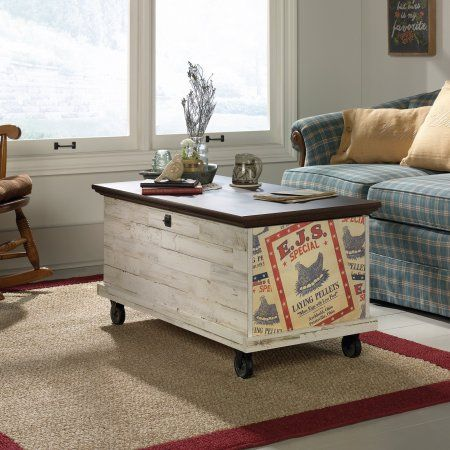Sauder Eden Rue Rolling Chest Spiced Mahogany Top White-Plank Bottom Finish, Brown