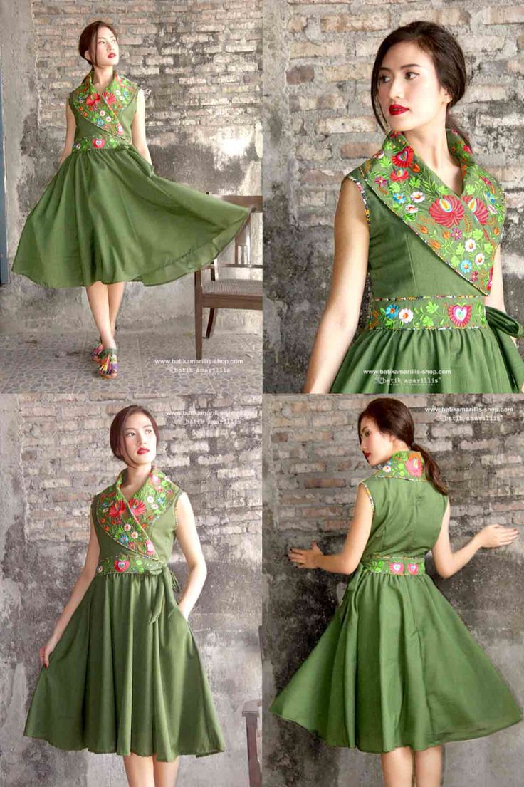 Batik Amarillis Made In Indonesia ...Batik Amarillis's Hey Day Wrap dress in Hungarian Embroidery Our new classy & classic 50-ies dress inspired . Full skirt with large box pleats,shoulder wrap crosses bodice front and back zipper